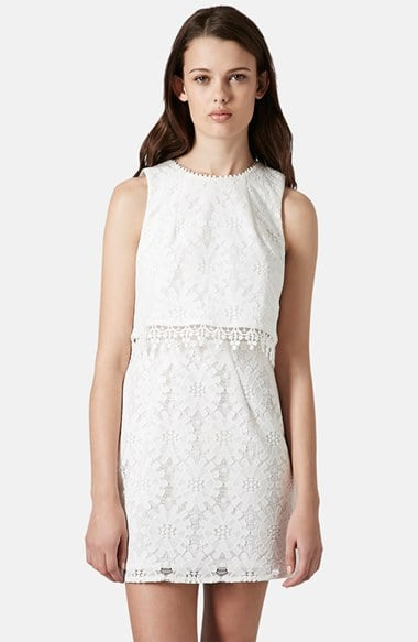 Topshop Crop Overlay Shift Dress