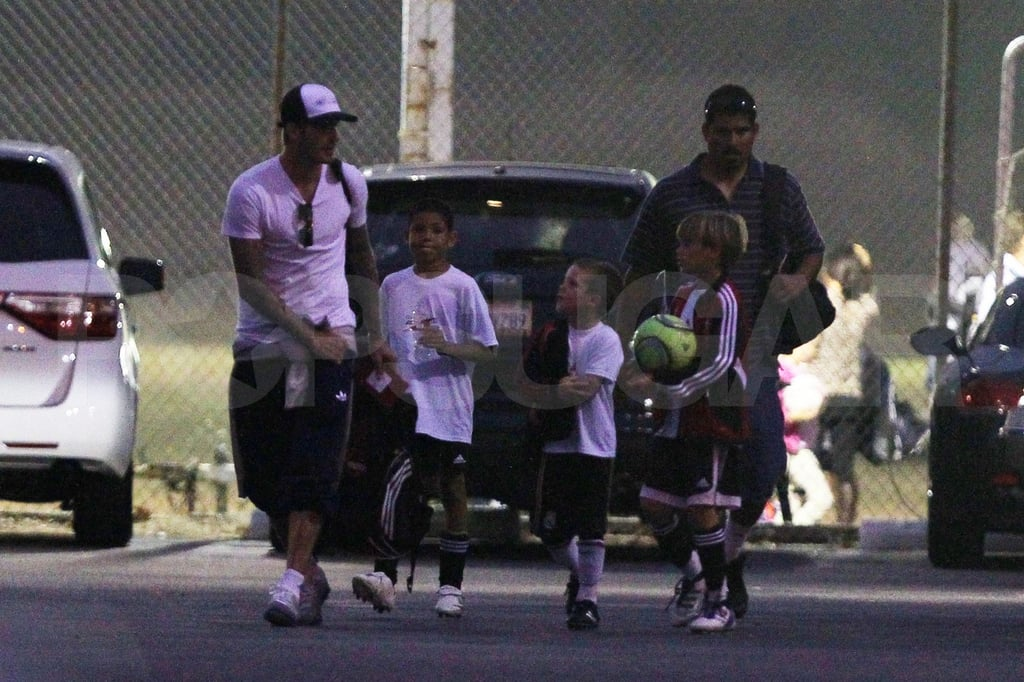 David Beckham, Cruz Beckham, and Romeo Beckham together in LA.