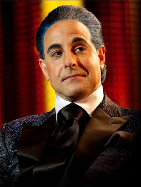 Stanley Tucci as Caesar Flickerman in The Hunger Games.