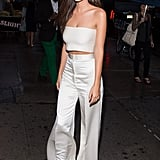 A White Crop Top and Matching Wide-Leg Pants