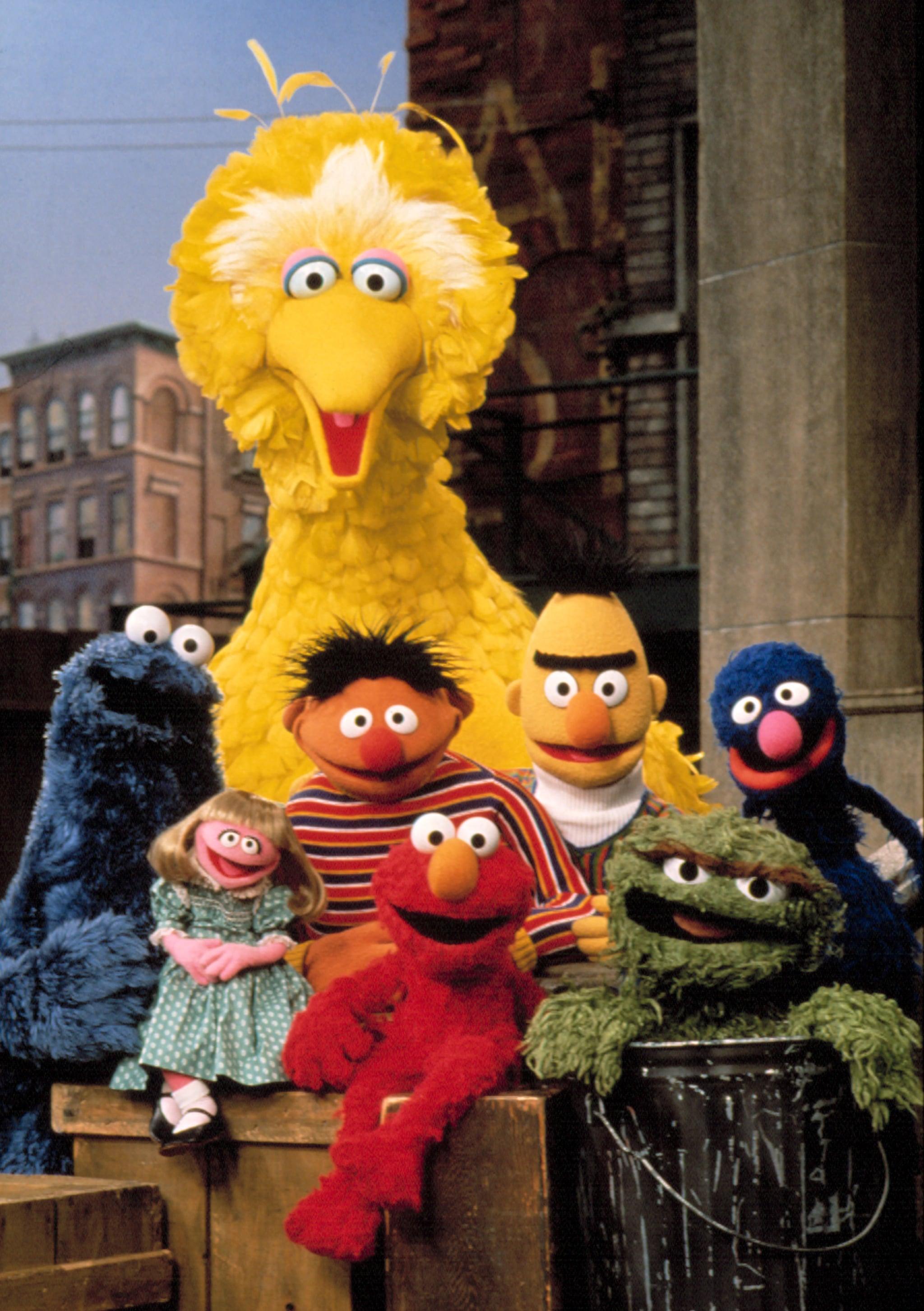 SESAME STREET, (L-R), Cookie Monster, Prairie Dawn, Big Bird, Ernie, Elmo, Bert, Oscar the Grouch, Grover, celebrating Season 25, 1993-1994. (c)CTW. Courtesy:Everett Collection