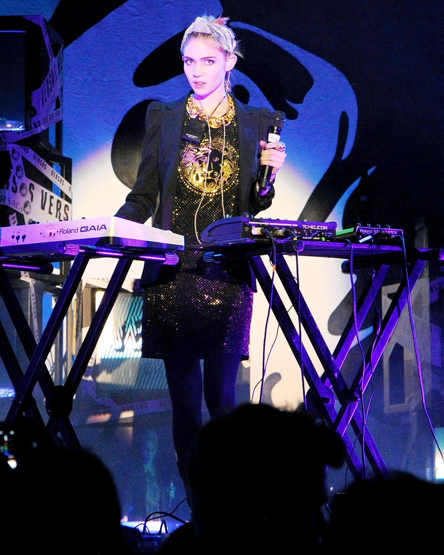 Grimes performed at the JW Anderson for Versus launch party. Source: Billy Farrell/BFAnyc.com