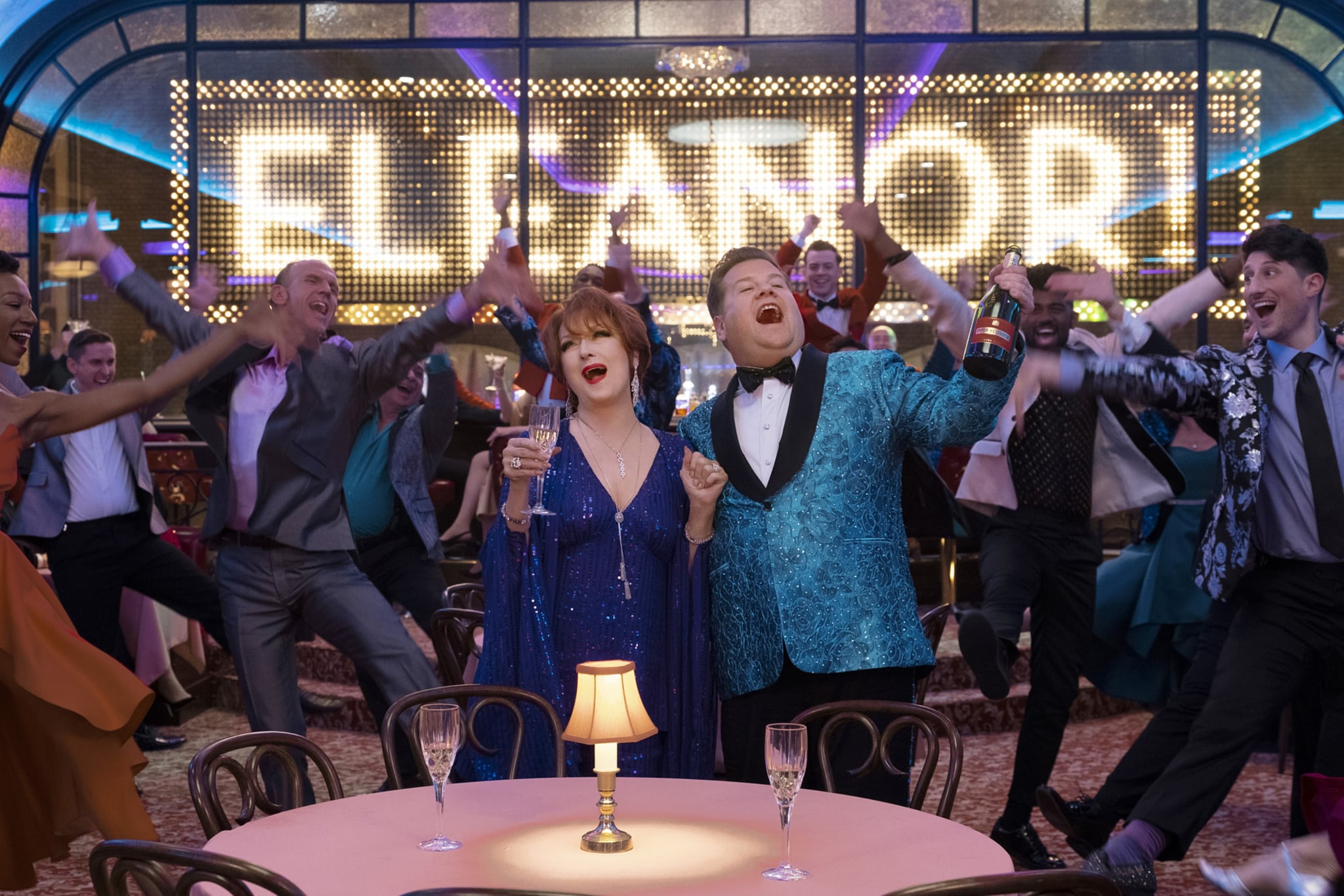 THE PROM, from left: Meryl Streep, James Corden, 2020. ph: Melinda Sue Gordon /  Netflix / Courtesy Everett Collection