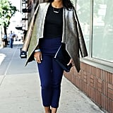Mix Navy and Black Separates, Then Add a Statement Jacket or Blazer