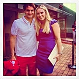 Lindsey Vonn caught up with silver medalist Roger Federer. Source: Instagram user lindseyvonn