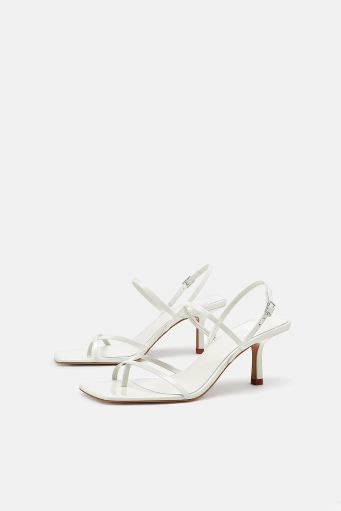 af47946d3ea Zara Strappy Mid-Heel Leather Sandals