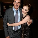 Amanda Seyfried gave her co-star Chris Noth a hug at their LA premiere of Lovelace.