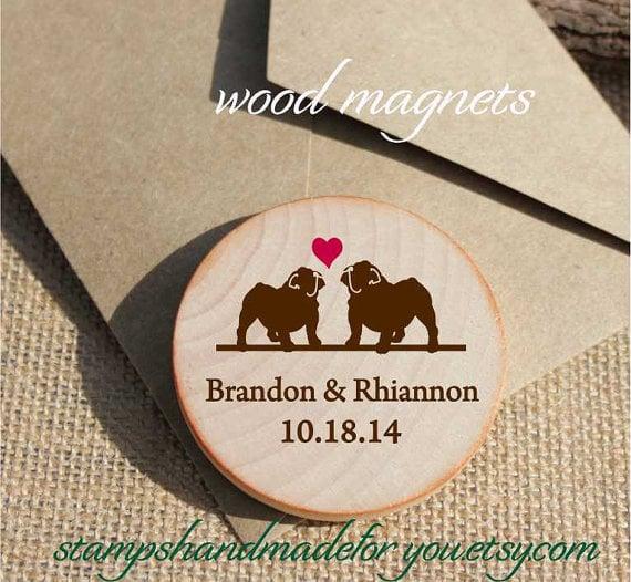 Custom Wooden Dog Heart Magnets