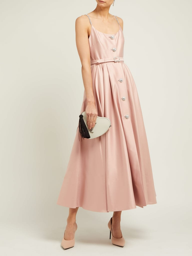 Alessandra Rich Crystal-Embellished Cotton-Blend Midi Dress