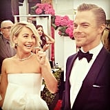 Julianne Hough smiled at her handsome brother Derek on the red carpet.