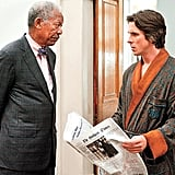 Morgan Freeman and Christian Bale in The Dark Knight Rises.