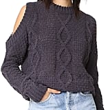 J.o.a. Cable Cold Shoulder Sweater