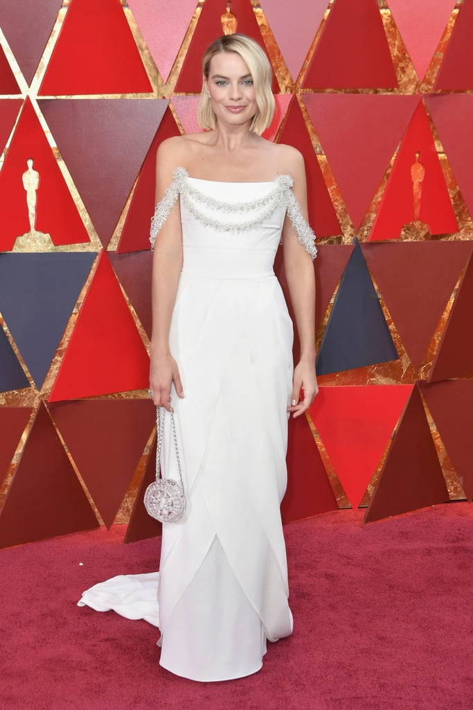 a0d00a4d4cc Margot Robbie White Chanel Dress at Oscars 2018 | POPSUGAR Fashion