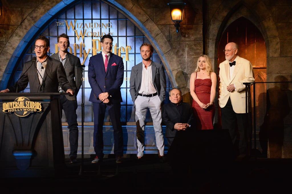 James and Oliver Phelps joined Tom Felton, Warwick Davis, Evanna Lynch, and composer John Williams for a fun speech during the grand opening of Universal Studios's Wizarding World of Harry Potter in Hollywood in April 2016.