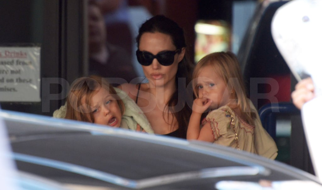 Knox and Vivienne with Angelina Jolie in Malta.