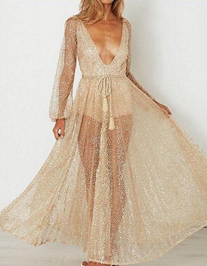 M2MO Sheer Long-Sleeved Cocktail Maxi Dress