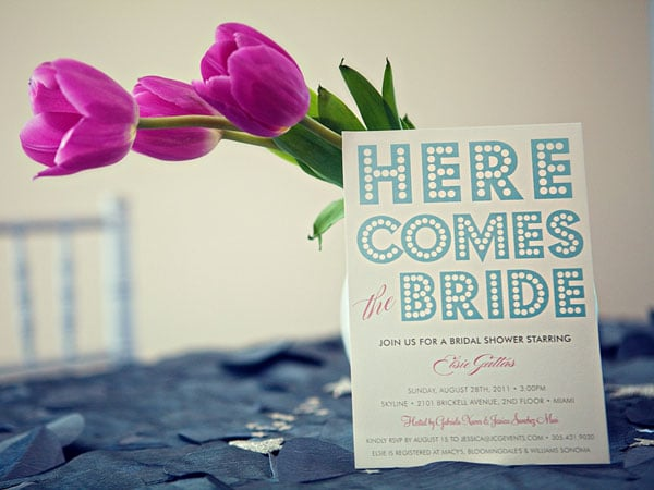 In keeping with the theme, these Minted invitations feature marquee-style lettering.