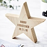 Sophia Victoria Joy Personalised Christening Wooden Star Keepsake