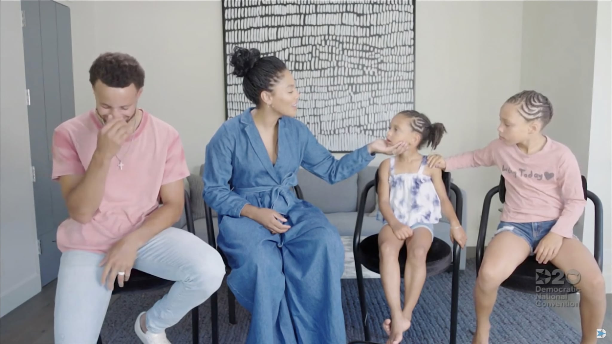 MILWAUKEE, WI - AUGUST 20: In this screenshot from the DNCC's livestream of the 2020 Democratic National Convention, NBA athlete Stephen Curry, his wife Ayesha Curry and children Ryan and Riley address the virtual convention on August 20, 2020.  The convention, which was once expected to draw 50,000 people to Milwaukee, Wisconsin, is now taking place virtually due to the coronavirus pandemic.  (Photo by DNCC via Getty Images)  (Photo by Handout/DNCC via Getty Images)