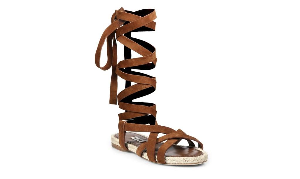 Miu Miu Suede & Espadrille Lace-Up Flat Sandals ($490)