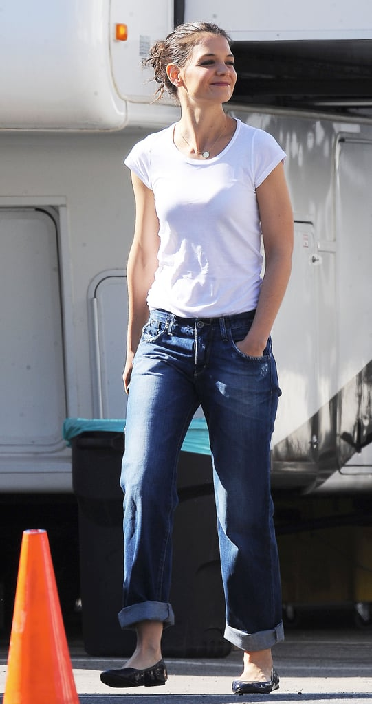 Pictures of Katie Holmes on Jack and Jill Set in LA