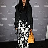 Padma Laskshmi looked ever-so-elegant in a floral embroidered Naeem Khan design at the Fall '12 show.
