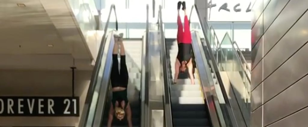These 2 Women Casually Held Handstands on Moving Escalators, and We Can't Stop Watching
