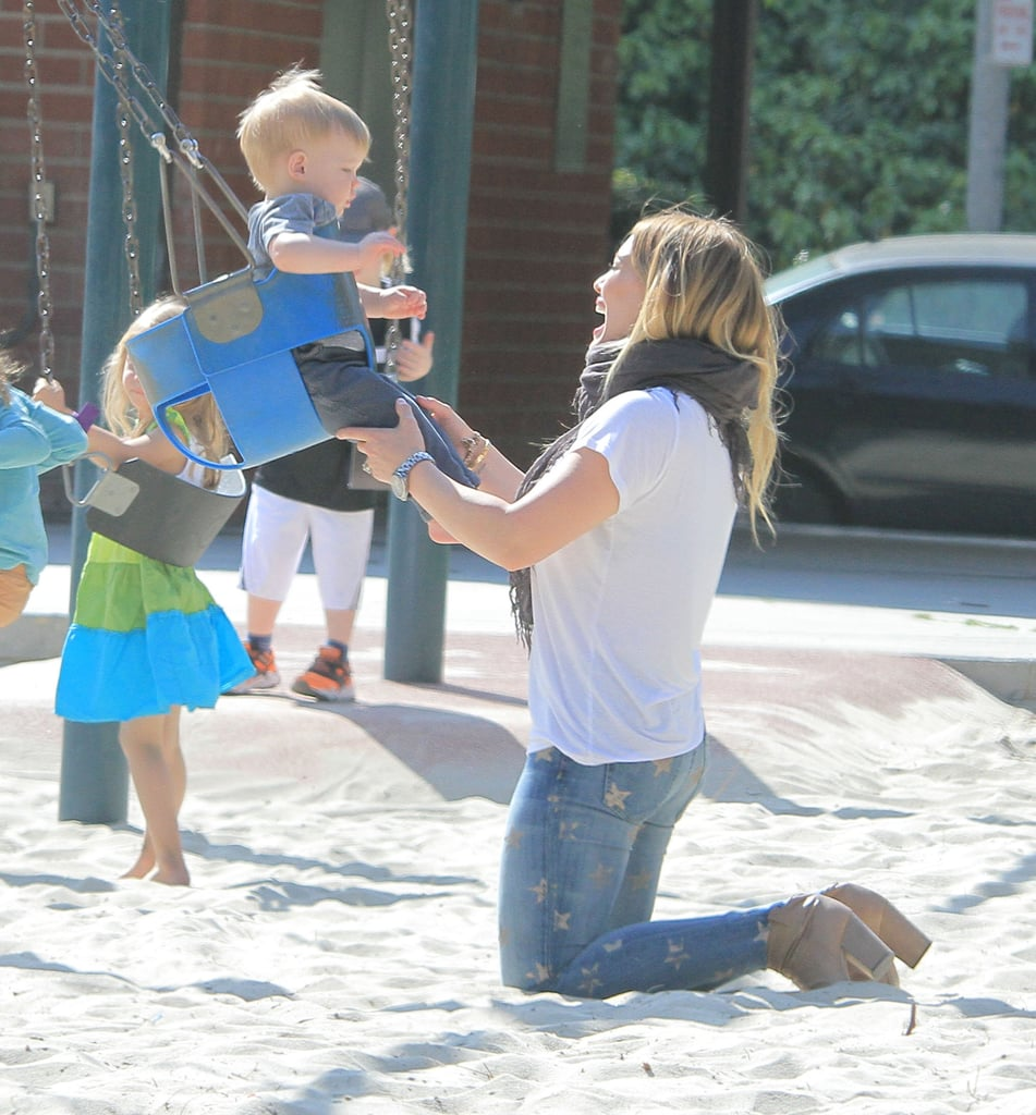 Hilary Duff pushed Luca on the swings at an LA playground.