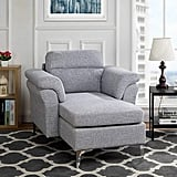 Modern Living Room Linen Fabric Chaise Lounge