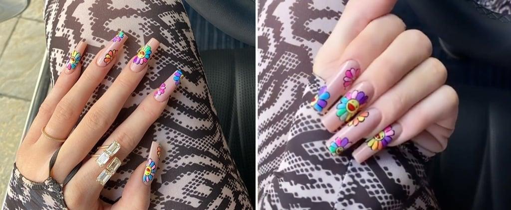 Kylie Jenner's Rainbow Flower Nail Art