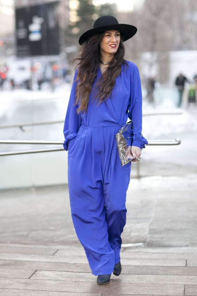 Pretty blues emboldened this '70s-inspired jumpsuit.
