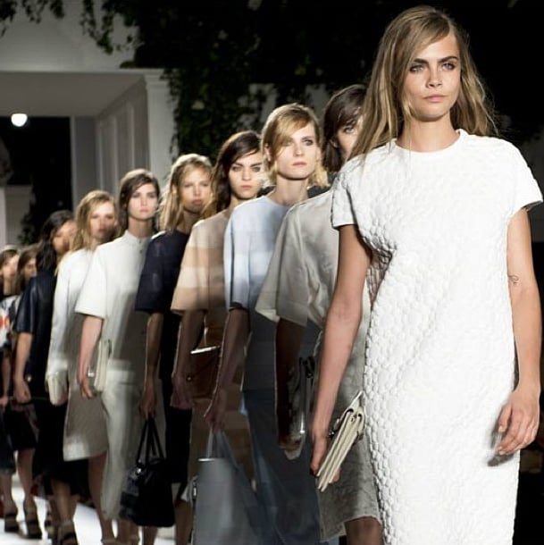 Cara led the way for Mulberry's pretty models. Source: Instagram user mulberry_editor