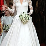 Putting to rest months of speculation, Kate Middleton selected a Sarah Burton for Alexander McQueen gown when she married Prince William in London in April 2011.