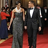 President Obama and First Lady Michelle Obama looked sharp during a black-tie dinner at the White House in Feb. 2009.