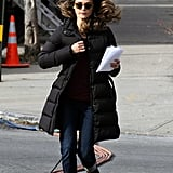 Keri Russell hurried to set.