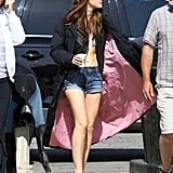 Emma Watson wore a bra and denim shorts on the set of The Bling Ring in Venice.