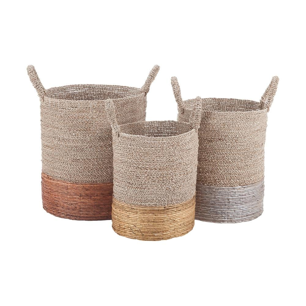 Mixed Metallics Leather Nested Decorative Baskets ($178 per set of 3)