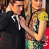 Zac Efron posed with costar Taylor Schilling at the European premiere of The Lucky One.