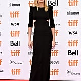 Julia wore a DSquared2 gown with slashes at the side and strong shoulders for the Ben Is Back premiere at the TIFF in 2018.