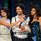 It was a hot lady sandwich for Ian Somerhalder, who was flanked by Selena Gomez and Nina Dobrev at June 2011's MuchMusic Video Awards in Toronto.