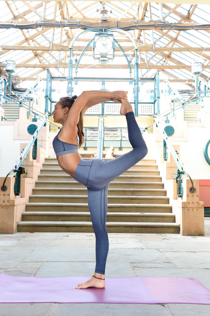 LONDON, ENGLAND - JUNE 20: Ahead of International Day of Yoga (21st June), yoga teacher Helen Russell-Clark prepares to celebrate the return of lululemons Sweatlife Festival at Londons Tobacco Dock on June 20, 2019 in London, England. Now in its fourth year, the Festival will see 6,000 people come together this Saturday and Sunday to take part in over 250 classes. See lululemon.co.uk/sweatlife.  (Photo by Nicky J Sims/Getty Images for Lululemon Sweatlife Festival)