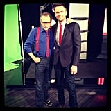 Larry King bonded with fellow TV host Joel McHale in front of The Soup's green screen. Source: Instagram user larrykingnow