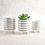 Gray and White Stackable Planter Set