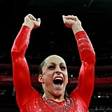 Jordyn Wieber of the US gymnastics team enthusiastically cheered on her teammates.
