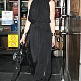 Gwen Stefani rocked a black jumpsuit and some fierce leopard-print footwear — still one of the coolest moms on record.