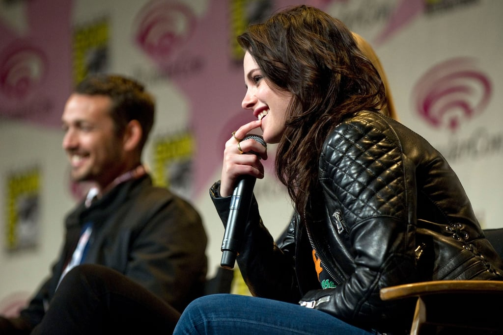 Kristen Stewart in a leather jacket at WonderCon.