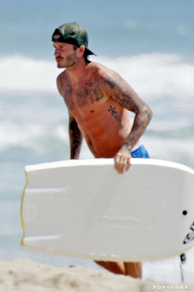 David Beckham was shirtless on a beach in LA.