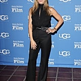 Jennifer tried the '70s trend when she slipped into flared trousers and a halter top in her signature colour at the Santa Barbara Film Festival in 2015.