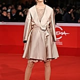 Her Metallic Trench Doubled as a Dress on the Red Carpet