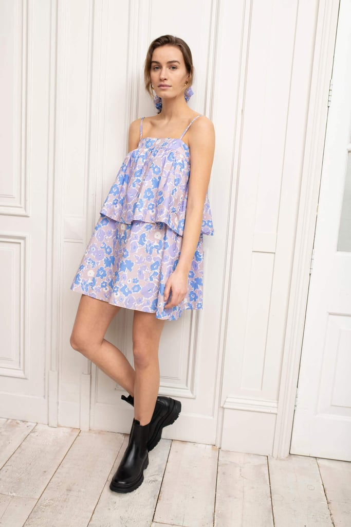 Shop Lilac Dresses: Omnes Tiered Mini Smock Dress in Purple Smudged Floral